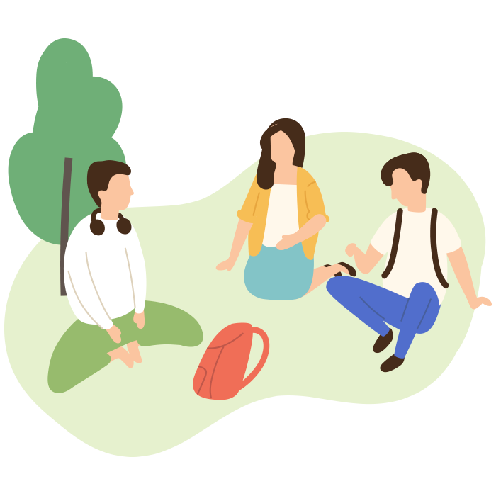 Illustration of three people sat on the grass
