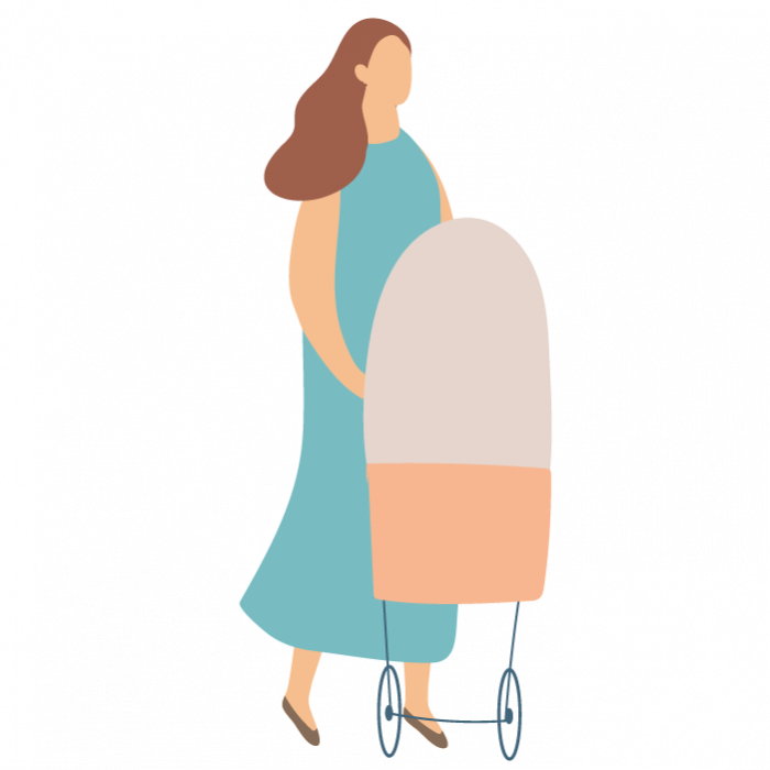 Illustration of woman pushing a pram