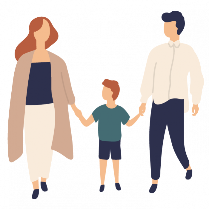 Illustration of a man and woman stood on either side of a child, holding child's hands