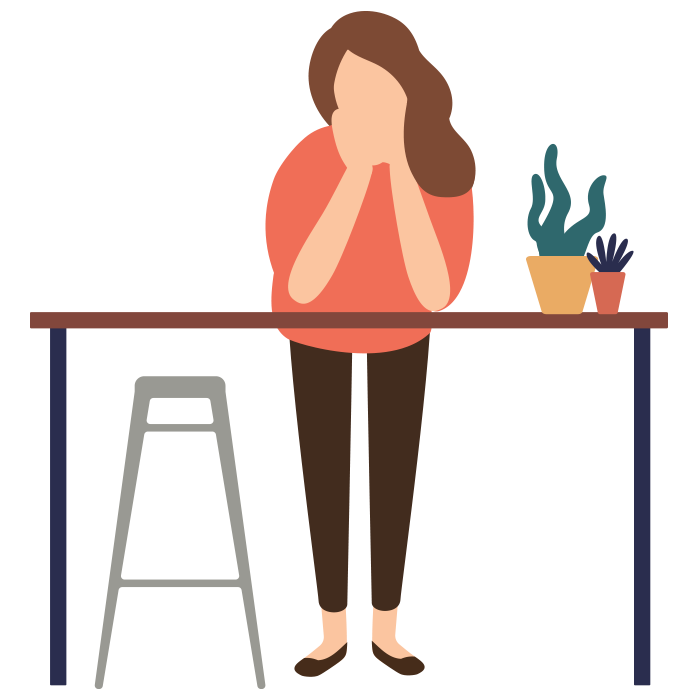 Illustration of women leaning forwards on the table