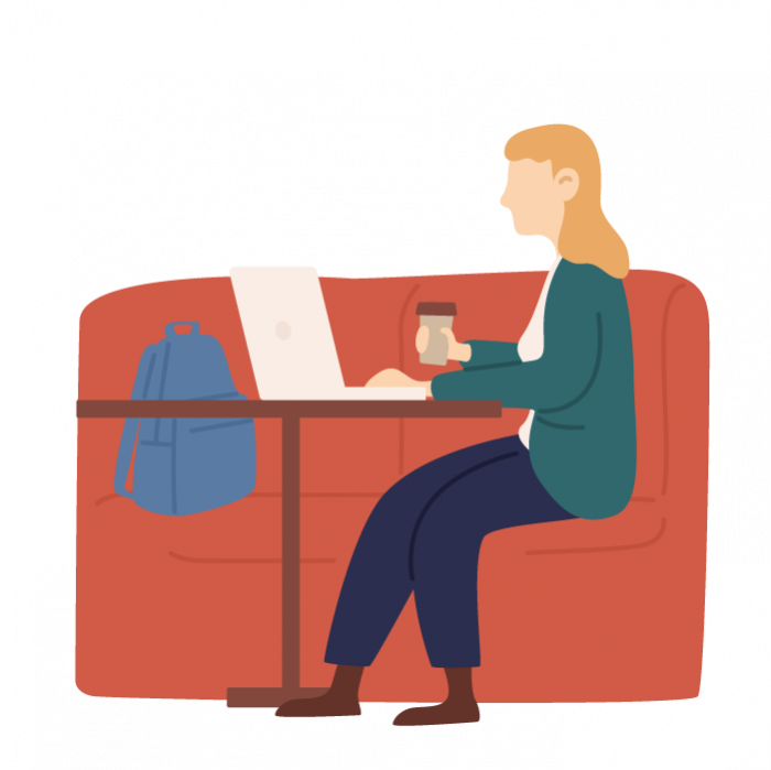 Illustration of woman sat on sofa, holding coffee cup and reading from laptop
