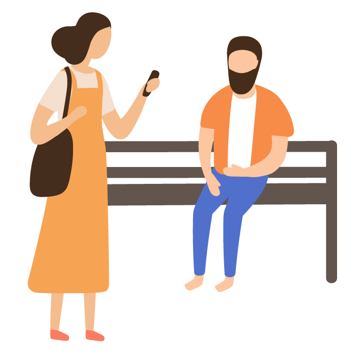 Illustration of man sat on bench, women walking past looking at her phone