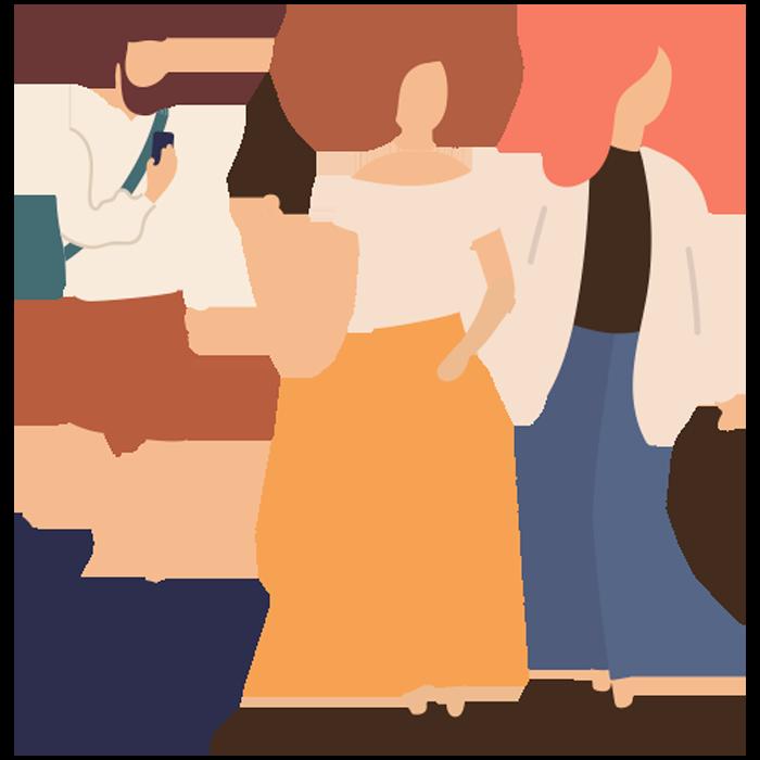Illustration of 3 teens walking