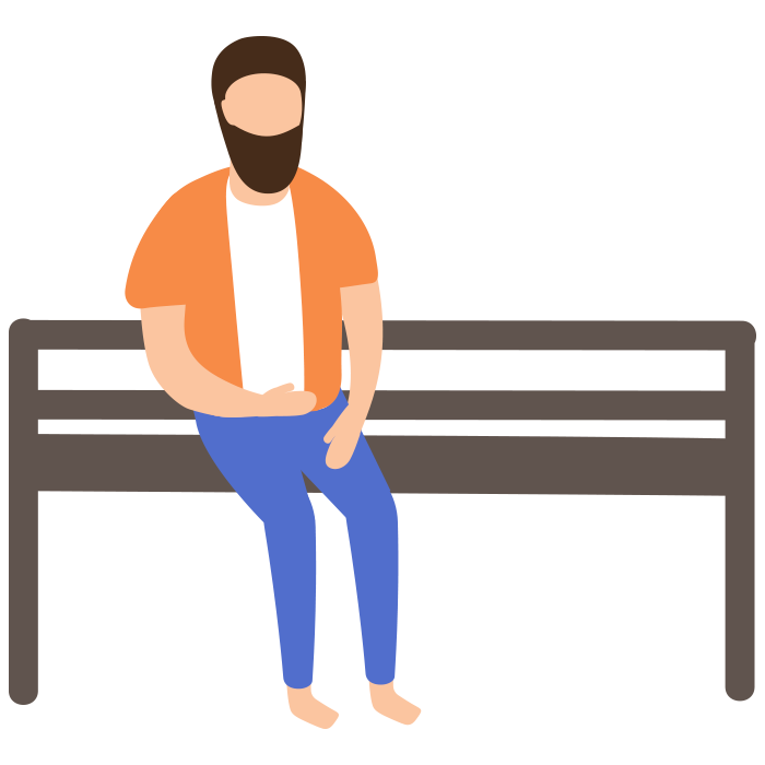 Illustration of a man sat on bench
