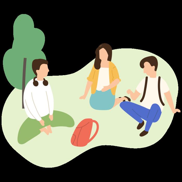 Illustration of three people sat on the grass