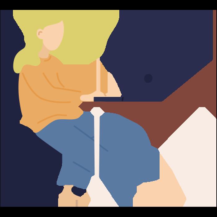 Illustration of woman sat at desk, typing on laptop