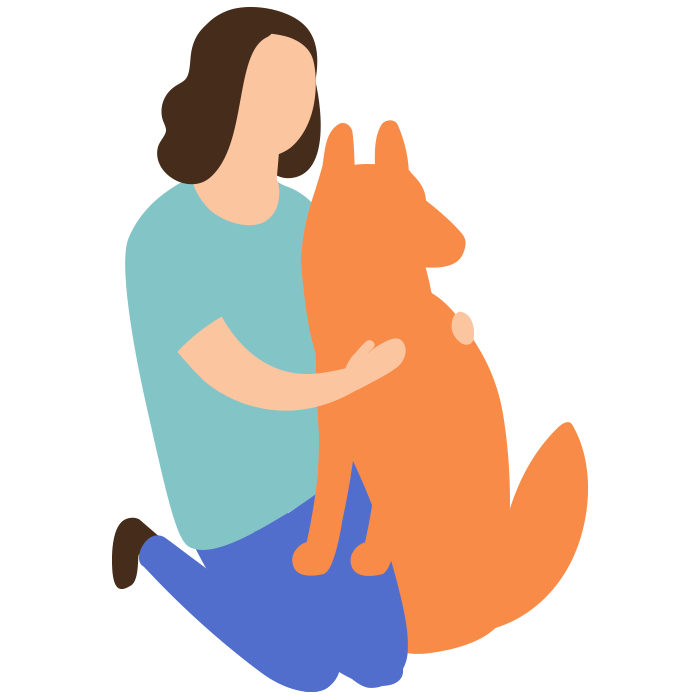Illustration of a woman knelt down stroking a dog