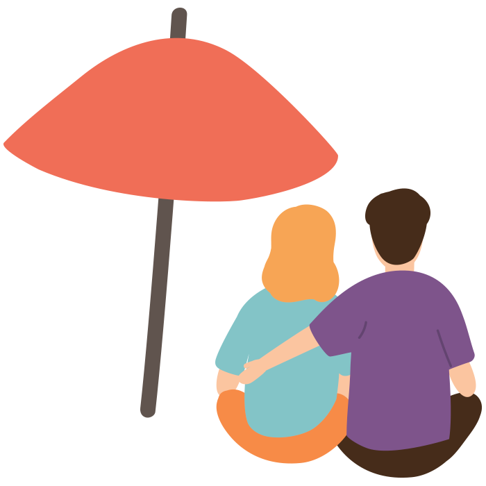 Illustration of man with arm around a woman, both sat under an umbrella