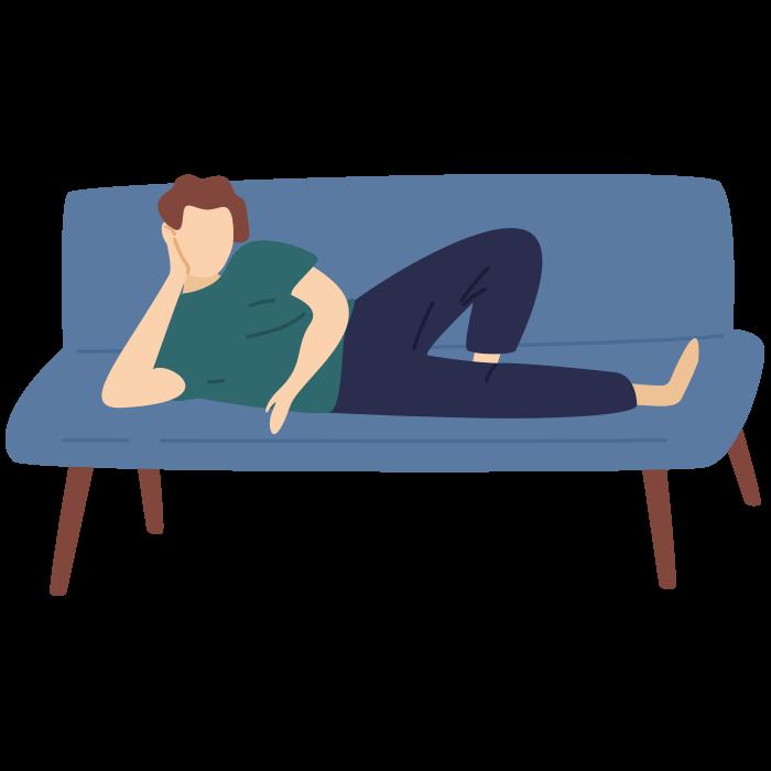 Illustration of a man lying on a sofa