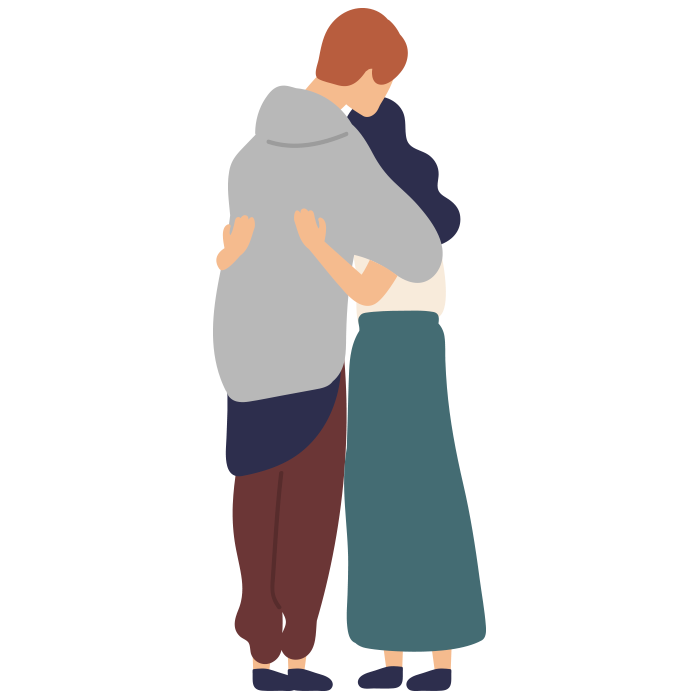Illustration of man and woman hugging