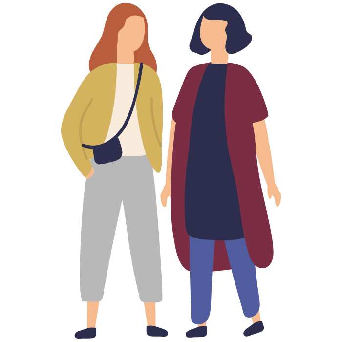 Illustration of two women looking at each other