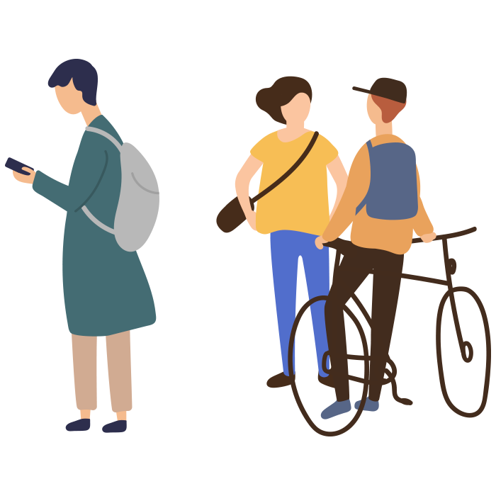 Illustration of three young people with backpacks