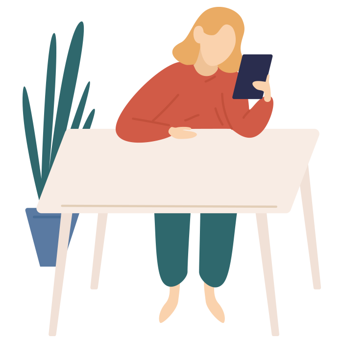 Illustration of a woman sat at desk, reading from tablet
