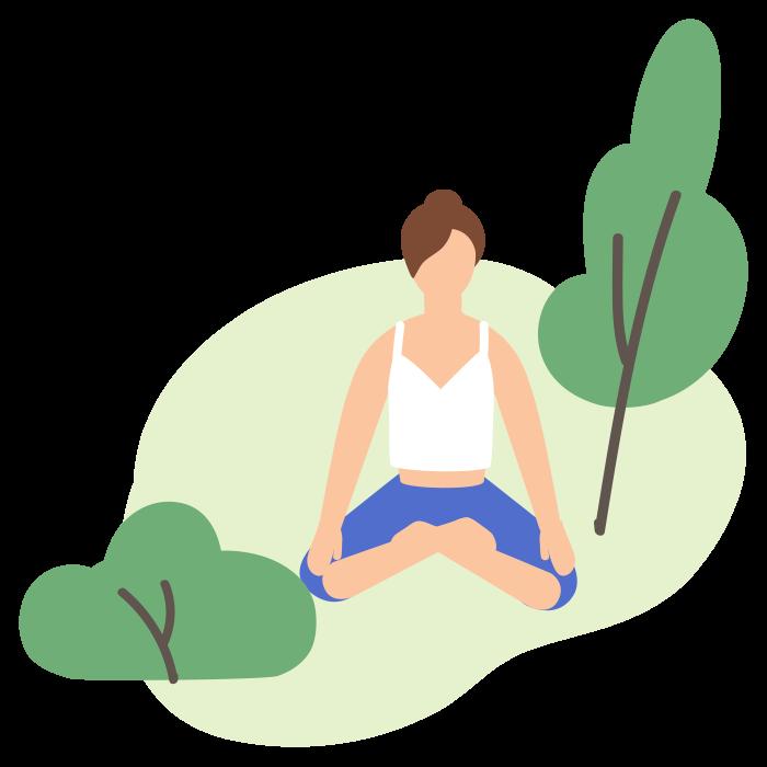 Illustration of woman sat on grass meditating