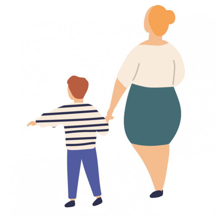 Illustration of woman holding hands with a young child