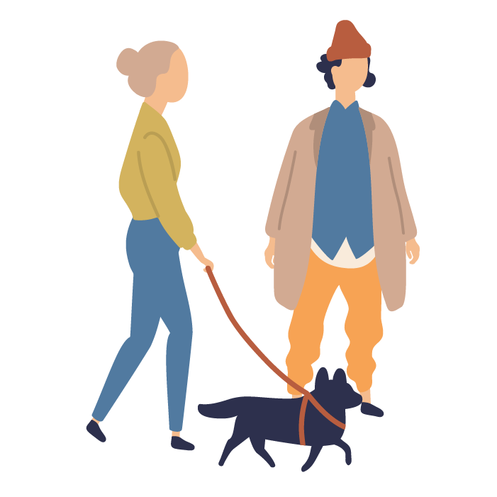 Illustration of woman walking a dog, and a man