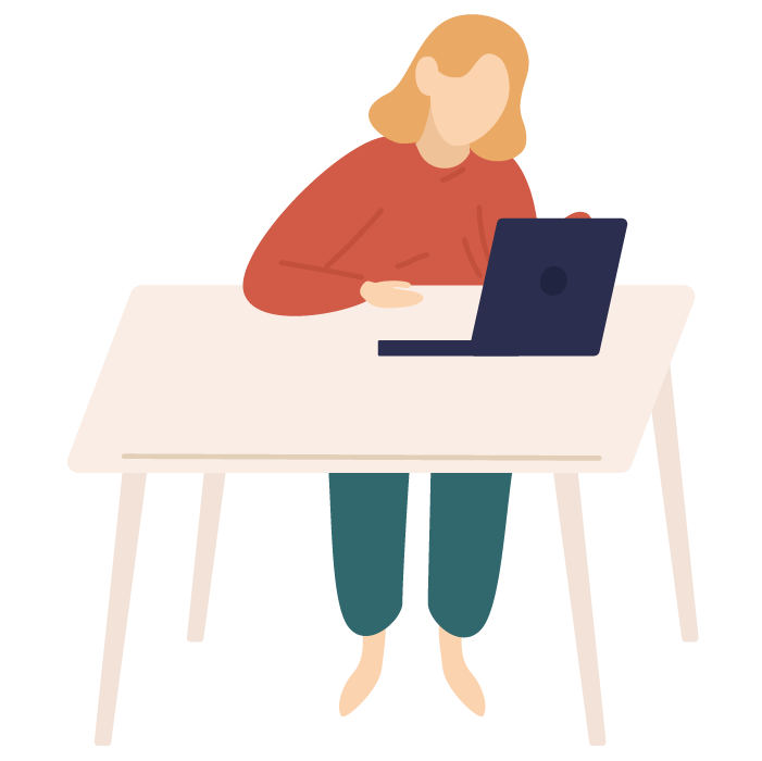 Illustration of woman sat at table looking at laptop