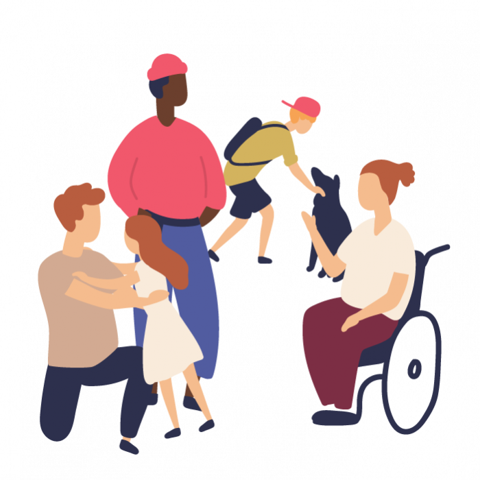 Illustration of a group of people including- a father holding his daughter, a man standing, a boy and his black dog, and a woman in a wheelchair