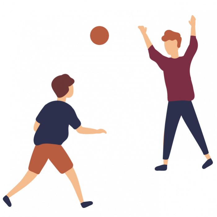 Illustration of two children throwing a ball to one another