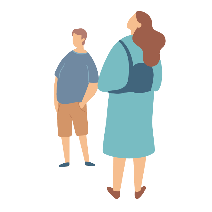 Illustration of woman wearing backpack and a man