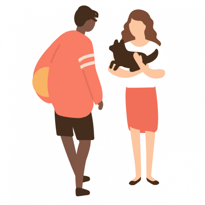 Illustration of a girl holding a small dog, speaking to a boy holding a football.