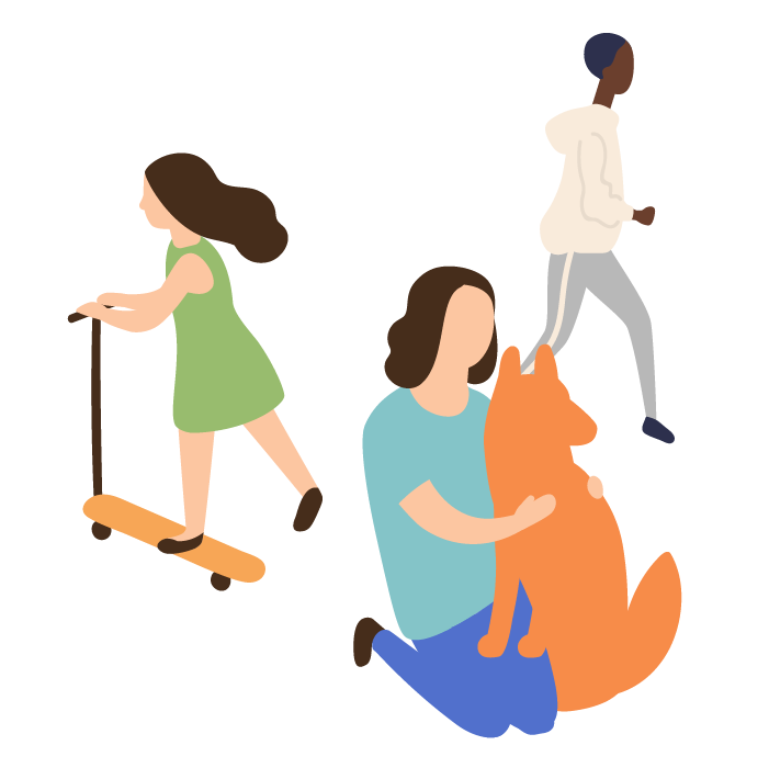 Illustration of a group of people including- girl on scooter, woman with dog, person running