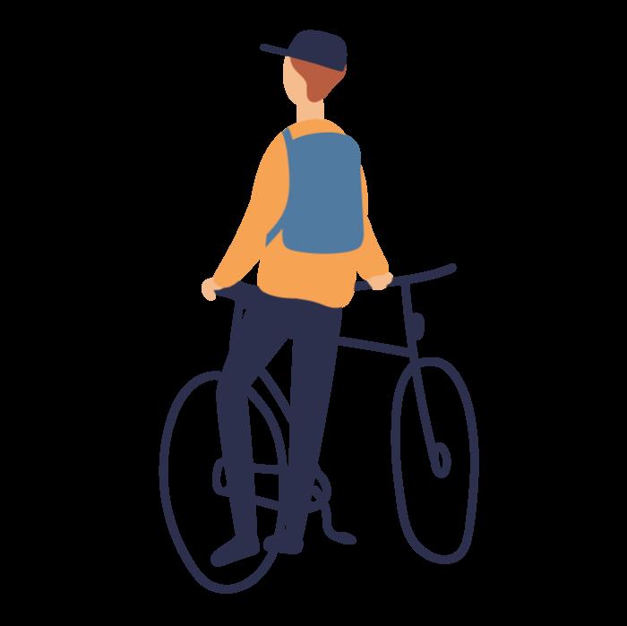 Illustration of boy with bike