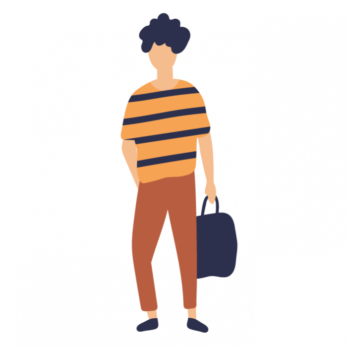 Illustration of person holding bag